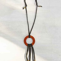 Moon And Arrow Wooden Circle Fringe Necklace- Assorted One