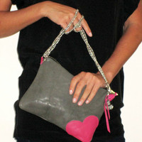 Leather Heart Clutch // Handcrafted pink gray // Leather Zipper Crossbody Purse // Star Lining // Cherry Star Charm