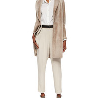 Brunello Cucinelli Shearling Fur Shawl-Collar Car Coat, Poplin Button-Down Blouse w/ Silk Sleeves, Wool-Crepe Non-Pleated Trousers & Accessories