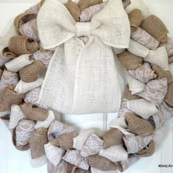 Burlap Wreath, Wreaths, White Burlap, All Year Round Wreath, Winter Wreath, Big Bow, White Bow, Door Decor, Wreath For Door, Wreath