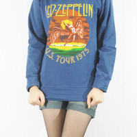 LED ZEPPELIN U.S. Tour 1975 The Legend Hard Rock Design Blue T-Shirt Long Sleeve