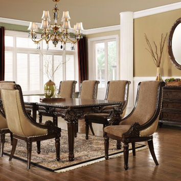 Mc Ferran MF-D4000-7PC 7 pc Britain cherry finish wood dining table set scoop chairs