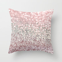 Girly Pink Snowfall Throw Pillow by Lisa Argyropoulos