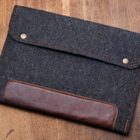 SPECIAL OFFER for iPad Air 2 case. Black Felt iPad case with natural leather. 4mm felt protected iPad cover. Felt iPad sleeve. iPad 4 cover