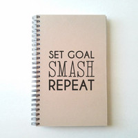 Set goal, smash, repeat, Journal, spiral notebook, sketchbook, wire bound diary, sketchbook, brown kraft, white, handmade, gift for writers