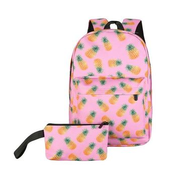 Pineapples! Pineapples! Pink Backpack and Pencil/Makeup Bag