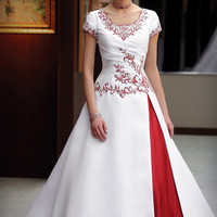 2017 Vintage Red And White Ball Gown Modest Wedding Dresses With Cap Sleeves Beaded Embroidery Gothic Colorful Bridal Gowns
