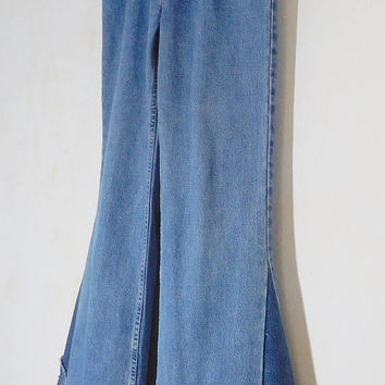 Mens Bell Bottom Jeans, Mens Levi Bell Bottoms, Peace Sign Patch, Hippie Clothes, Bohemian, 60s 70s, Frayed Worn, Super Flare, Bellbottom