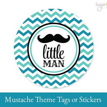 Mustache Little Man Tags, Mustache Favor Tags, Mustache Label, Mustache Printable tags, Mustache Party Decorations, Mustache Sticker Tags