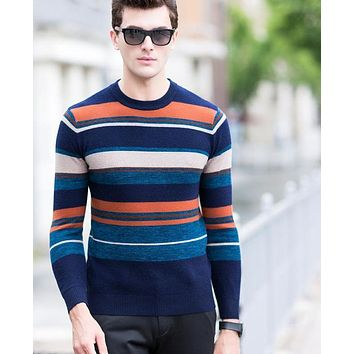 New Arrival Winter Thick Wool Pullover Men Knitwear Striped Patchwork Merino Wool Casual Sweaters