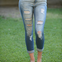 Destroyed Cuffed Capri - Light Denim