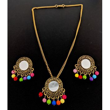 Afghani design - Antique gold finish mirror pasted multicolor bead hanging pendant chain necklace and earring set - Round design