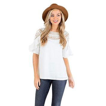 White Crochet Trim Spring Blouse