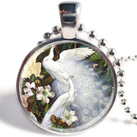 White Peacock Pendant Necklace, Peacock Necklace, Peacock Jewelry, Bird Jewelry, Picture Pendant, Glass Art Picture Pendant (LP06)