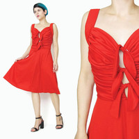 1970s Disco Dress Red Grecian Dress Cut Out Dress Ruched Dress Flared Skirt Red Party Dress Dress Studio 54 Tie Front Sexy Red Party (S)