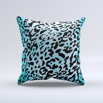 Hot Teal Cheetah Animal Print Ink-Fuzed Decorative Throw Pillow