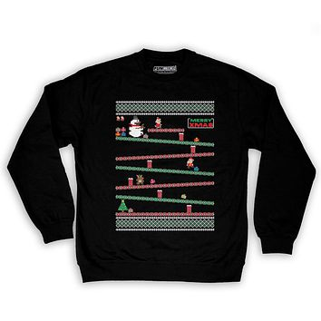 Function - 8 Bit Santa Arcade Ugly Christmas Sweater Men's Fashion Crew Neck Sweatshirt
