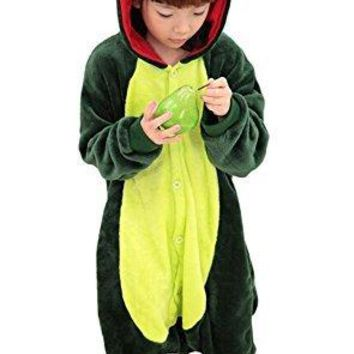"Tonwhar Children's Halloween Costumes Kids Kigurumi Onesuit Animal Cosplay (85(height:37.4""-41.3""), Green Dinosaur)"
