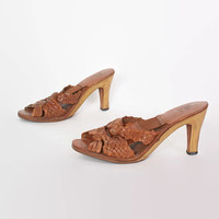 Vintage 70s Leather SANDALS / 1970s Brown Woven Open Toe Springolator Cork Heels 9