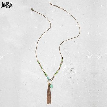JINSE New Arrival Natural stone pendant necklace Fashion plating Alloy Chain Tassel Pendant Necklace Of Female Jewelry GiftS
