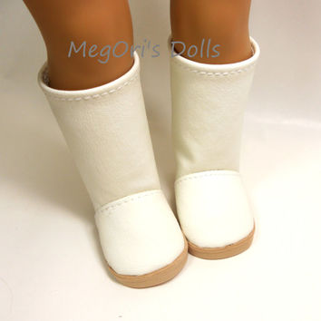 "American girl dolls 18"" dolls boots off white, ivory, cream, eggshell faux leather boots - BT004"