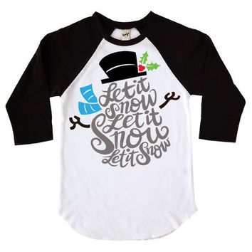Let It Snow Snowman Kids Raglan Shirt