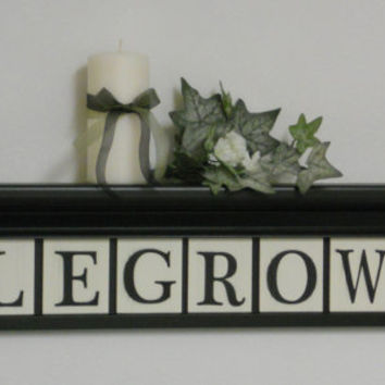 "Personalized Family Names and Signs 30"" Black Shelf - 8 Wooden Letter Tiles Painted with LEGROW and Maple Leave Artwork"