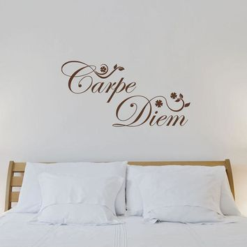 Carpe Diem Flowers Wall Decal Quote