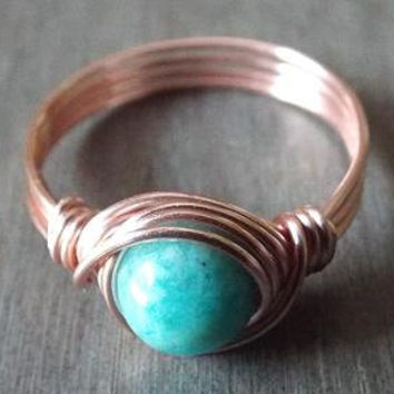 Thumb Ring, Amazonite Ring, Aqua Stone Ring, Amazonite Jewelry, Rose Gold Thumb Ring, Wire Wrapped Ring, Cute Ring, Dainty Ring, Light Blue