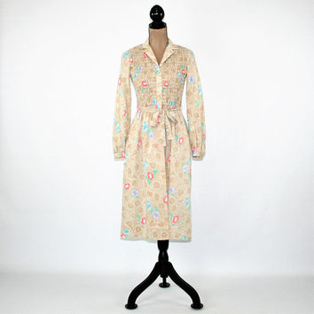 70s Long Sleeve Cotton Dress Women Floral Midi Dress with Pockets Shirtwaist Dress Beige 1970s Day Dress Vintage Clothing Womens Clothing