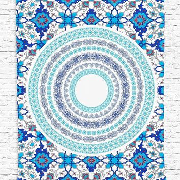 Blue Hippie Tapestry Mandala Bohemian Boho Blanket Bedspread Throw