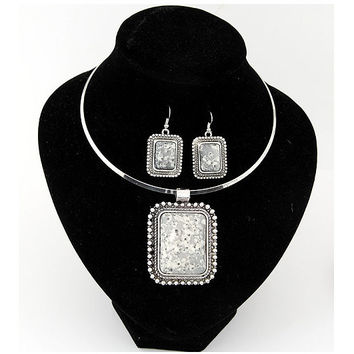 Fashion Ocean Style Big Stone Pendant Choker Necklace Earring Jewelry Sets For Women