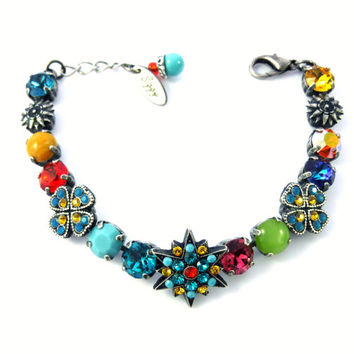 kaleidoscope, Swarovski crystal multi-colored flower bracelet, bright and beautiful by Siggy