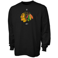 Reebok Chicago Blackhawks Black Prime Logo Long Sleeve T-shirt