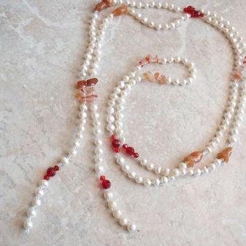 Pearl Lariat Necklace 54 Inches Agate Pieces Red Glass Beads Vintage 052714BKH