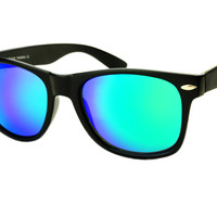 Cool Green Mirror Lens Wayfarer Style Sunglasses Shades W345 - Medium / Black