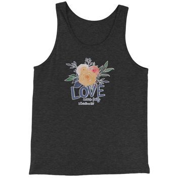 Love Never Fails Corinthians Bible Quote Jersey Tank Top for Men