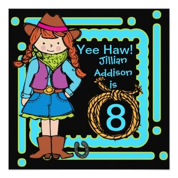 Yee Haw Cowgirl Customized Birthday Invites