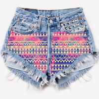High Waisted Frayed Studded Aztec Galaxy Printed Denim Shorts