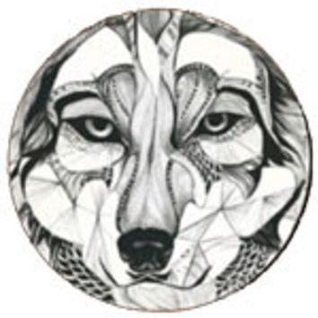 Wood Artistic Sketch Abstract Wolf Drink Coasters (Set of 4)