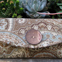 Clutch Purse tapestry with wooden button by PoePoePurses on Etsy $35.00