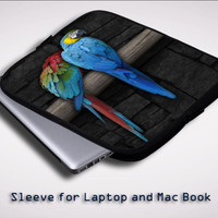 Cute Couple of Birds Parrot Pair Couple Animal Bird iPad 2 3 4 Sleeve for Laptop, Macbook Pro, Macbook Air (Twin Sides)