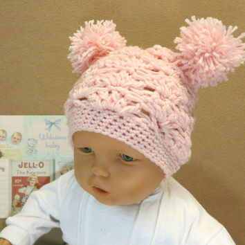 Crochet Baby Girl Hat with Pom Poms, Paie Pink Beanie, 0 Months to 4 Years, Photo Prop, Baby Shower Gift, Nchanted Gifts