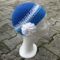 Hat with flower,winter girls beanie,women hat,blue winter beanie,interchangeable flower,stripe beanie,chunky hat,white women hat,flower hat