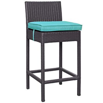 Turquoise Convene Outdoor Patio Fabric Bar Stool
