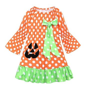 Girls Halloween Princess Dresses Long Sleeve Dot Pumpkin Print Casual Dress Baby Party Princess Costume Children's Clothing 1-5Y