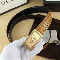 GUCCI Woman Men Fashion Smooth Buckle Belt Leather Belt Yellow I-A-GFPDPF