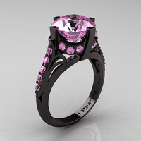 French Vintage 14K Black Gold 3.0 CT Light Pink Sapphire Bridal Solitaire Ring R306-14KBGLPS