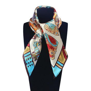 LMFU3C 60cm*60cm Women 2016 New Fashion Imitated Silk Euro Nations Wind Bohemia Cartoon Cat Printed Scarf Small Square Scarves