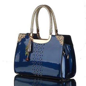 Women PU Patent Leather cut out design satchel